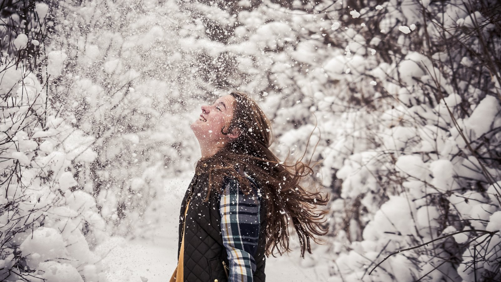 Girl smiling in the snow