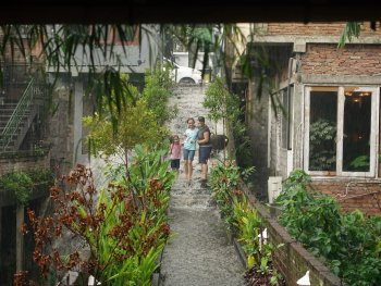 Waterfall down steps in Bali