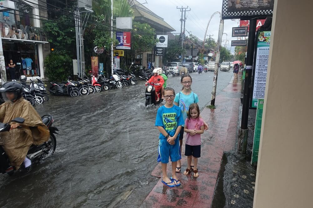 Flooded road in Bali