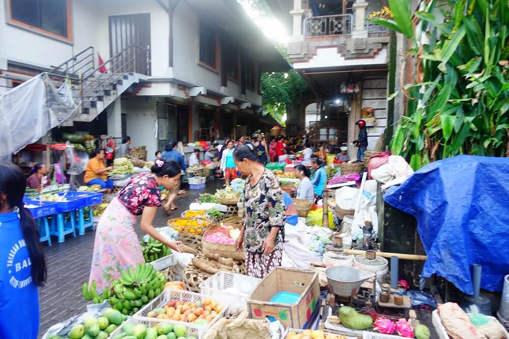 Fresh fruit and vegetables at market in Bali