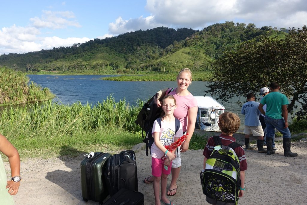 With luggage after boat ride