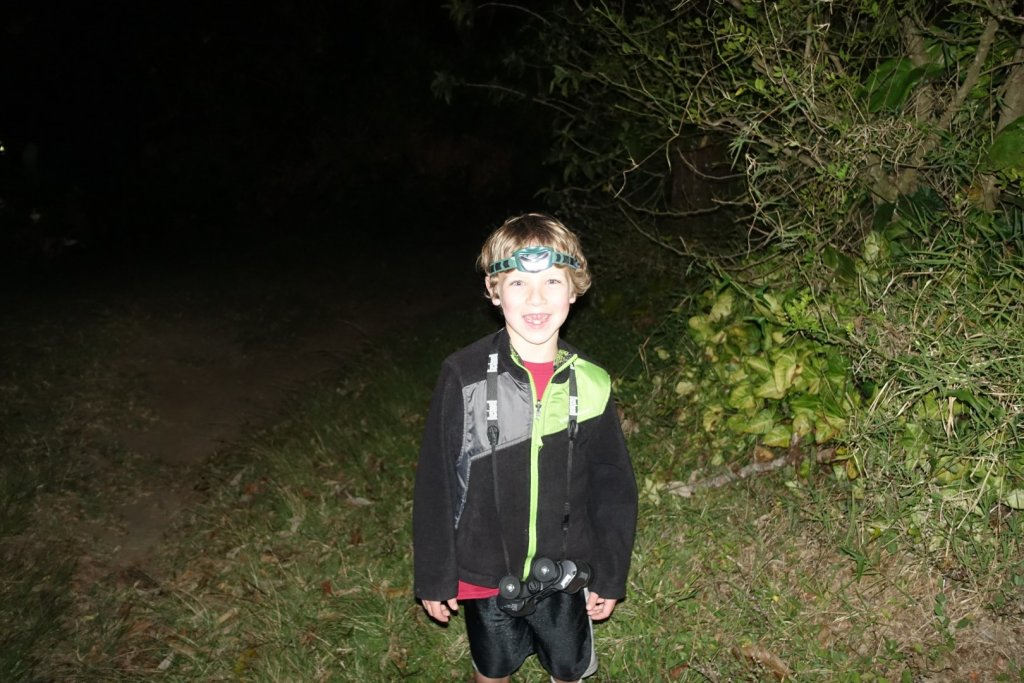 Ready for a night hike with binoculars and headlamp