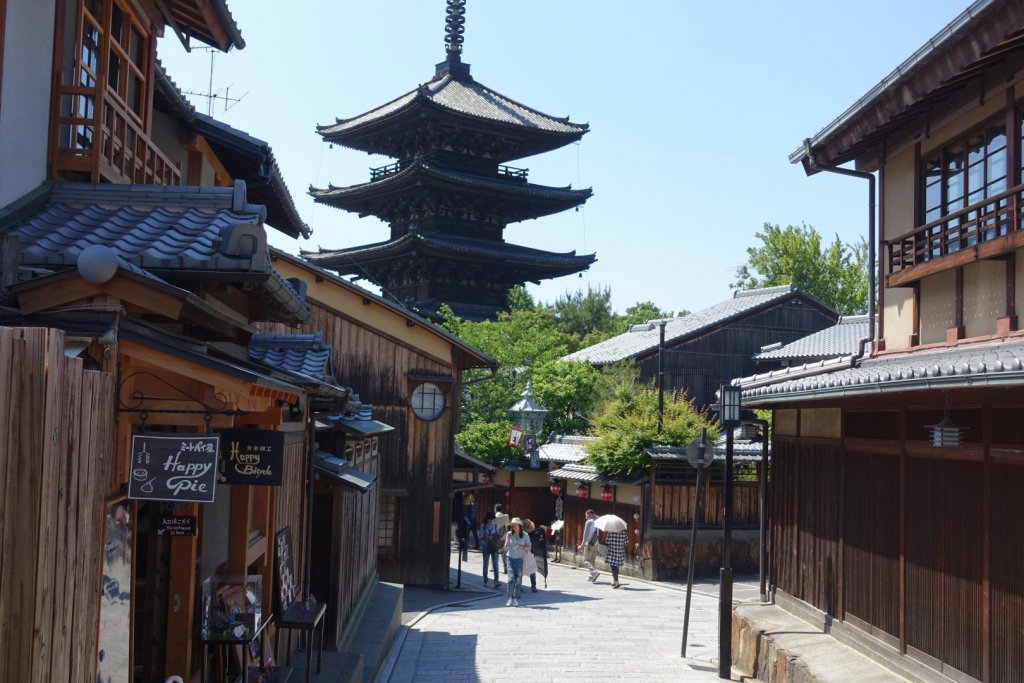 Japanese street with pagoda in the background