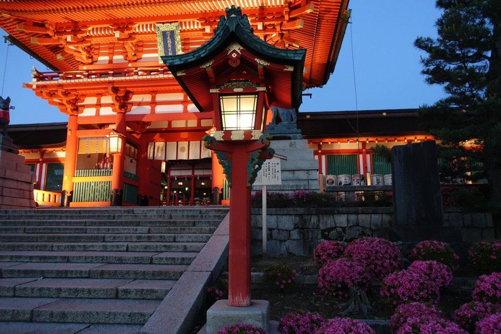 Shrine lit up at night