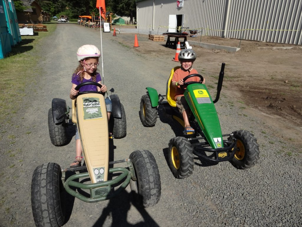 Riding the pedal carts at the Astoria KOA