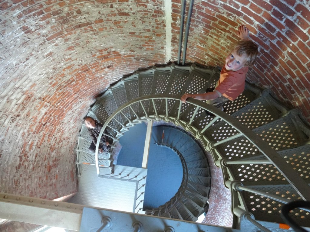 Spiral stairs inside the Cape Blanco Lighthouse