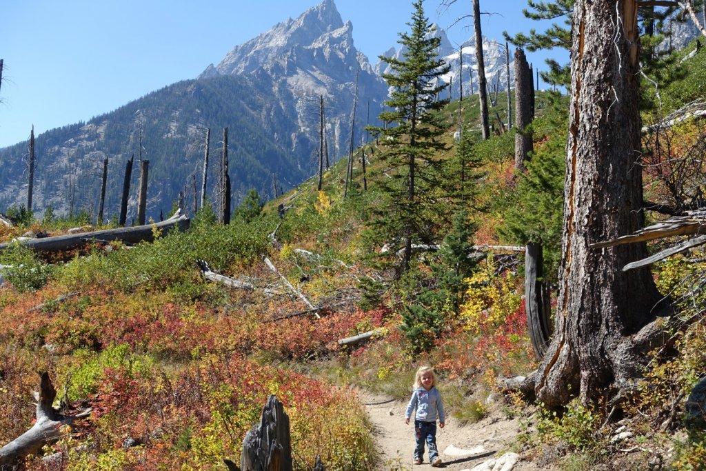 girl on hiking trail