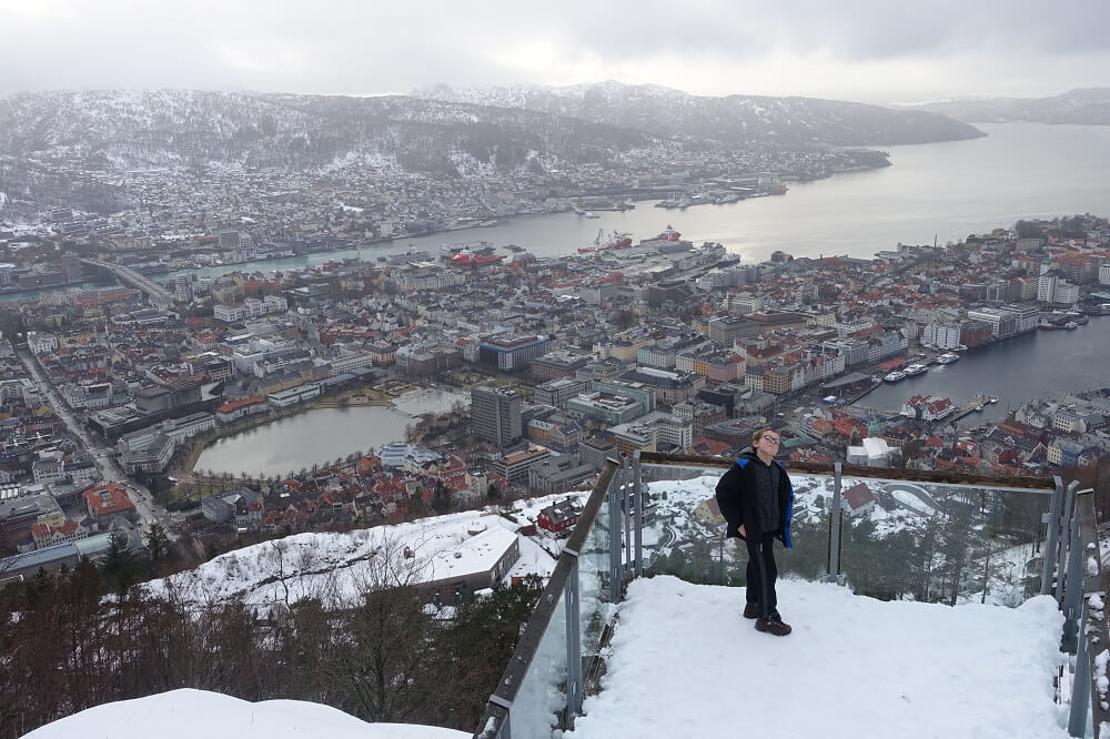 View of Bergen, Norway from Mt. Floyen