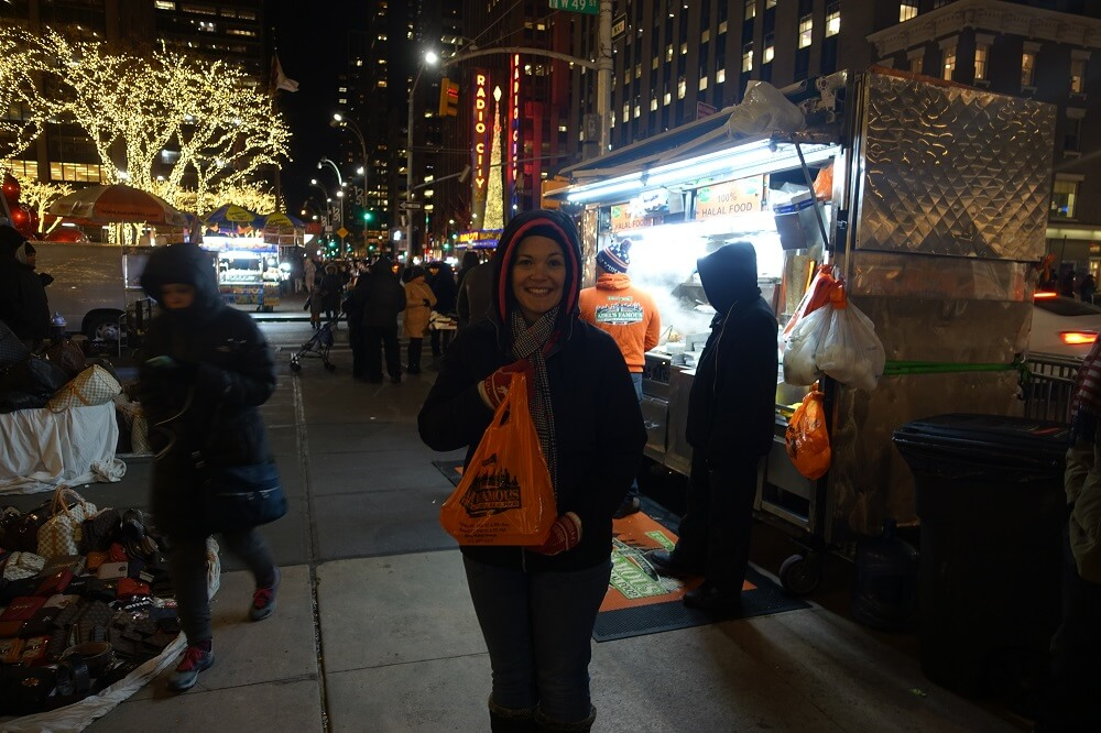 Halal Guys cart at night