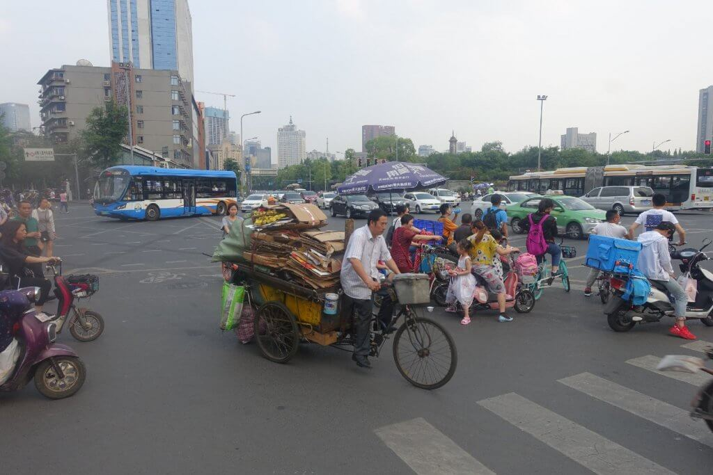 Motorcycles and bikes on China street