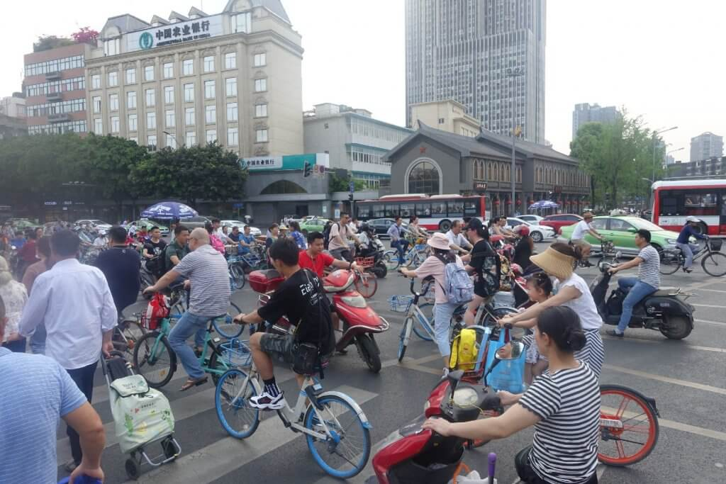 Crowded streets in Chengdu