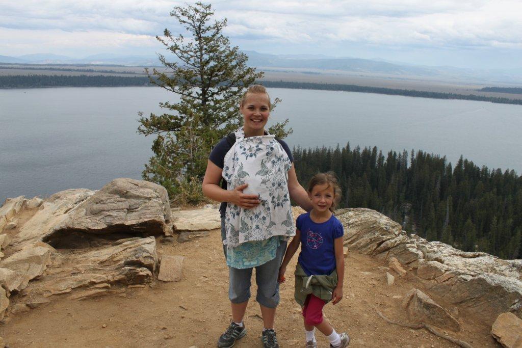 mom and kids on hike