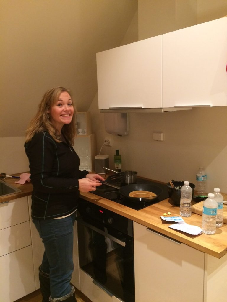 Cooking crepes in Norway
