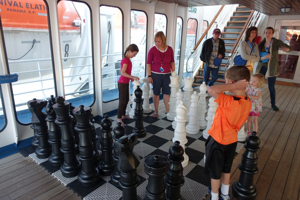 giant chess board on a cruise ship
