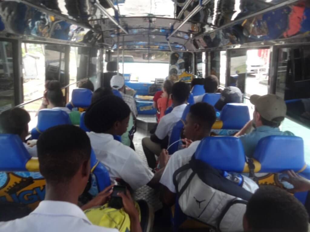 locals on the bus in Barbados