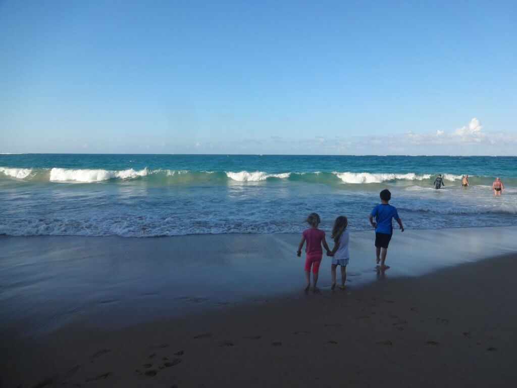 kids looking at the waves