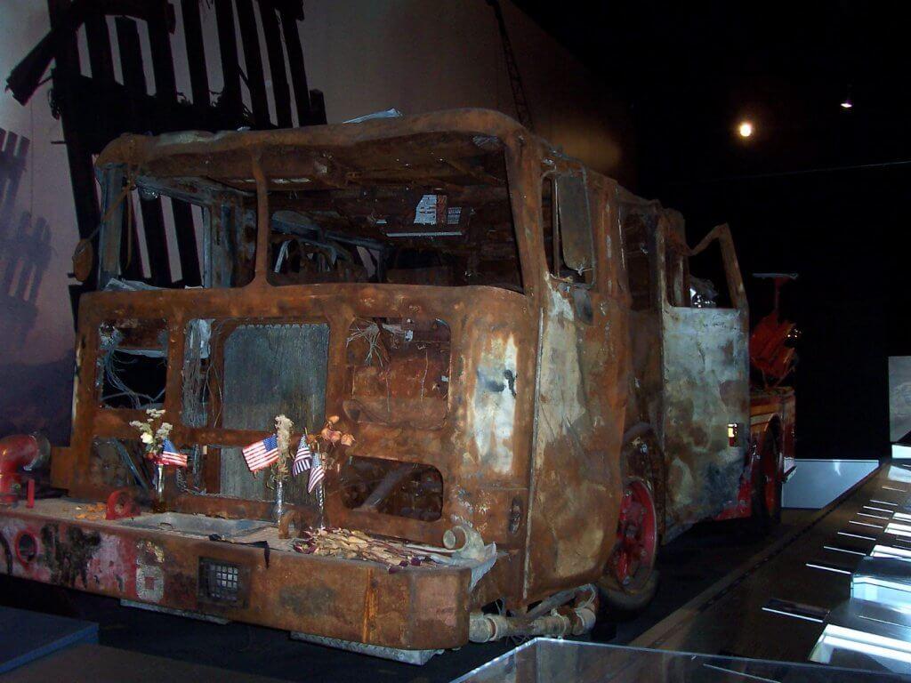 burned fire truck