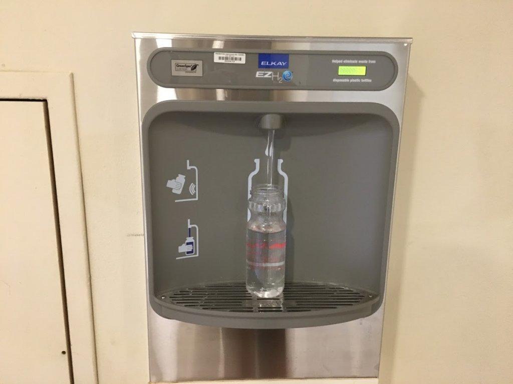 water bottle at filling station