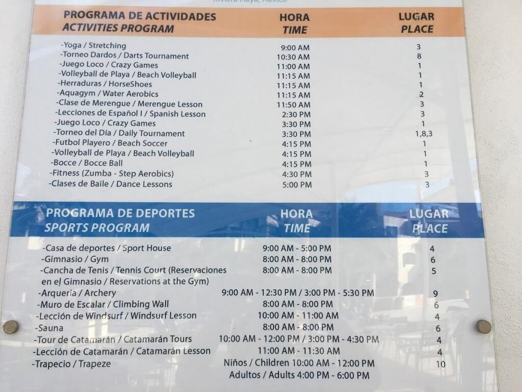 list of activities at resort