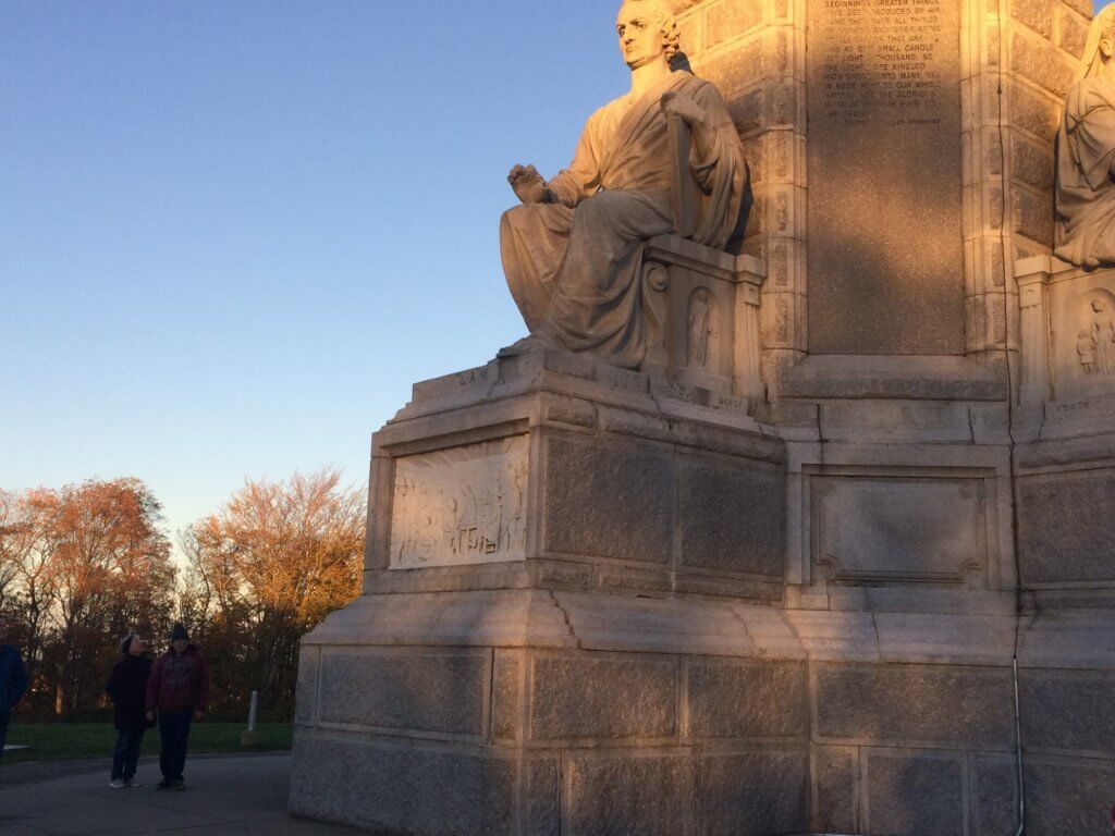couple next to a monument