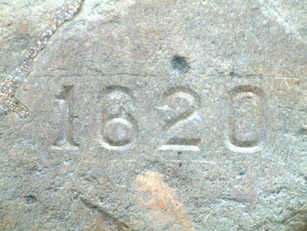 engraving of 1620 in rock