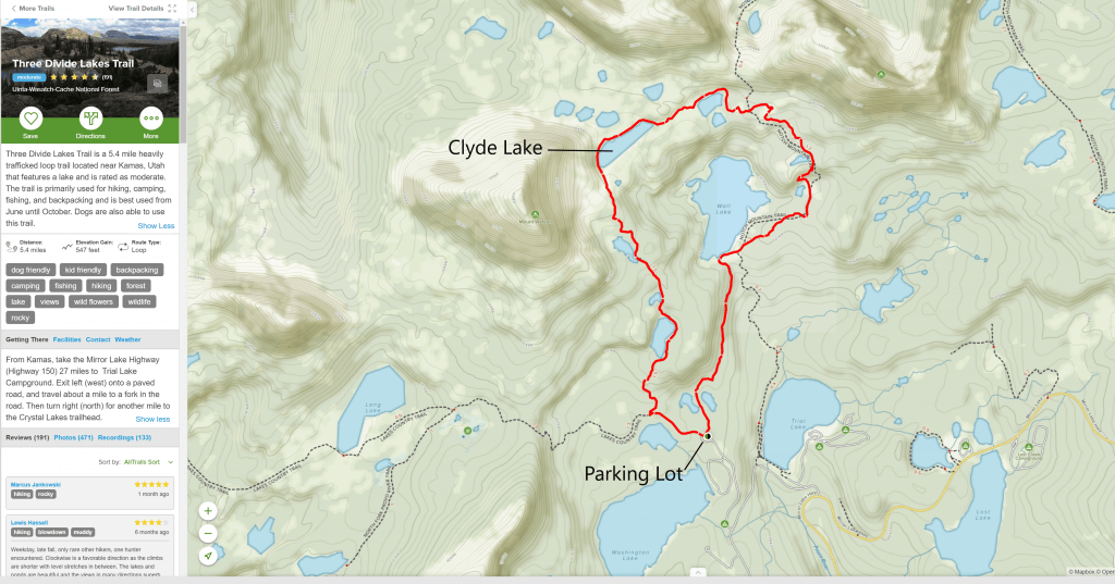 map of hiking trail