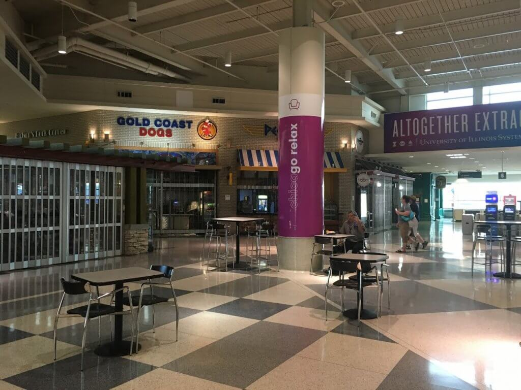 almost empty airport food court