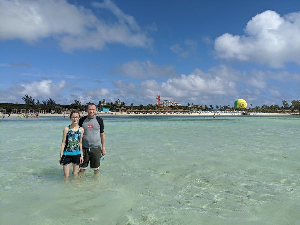 father and daughter in ocean