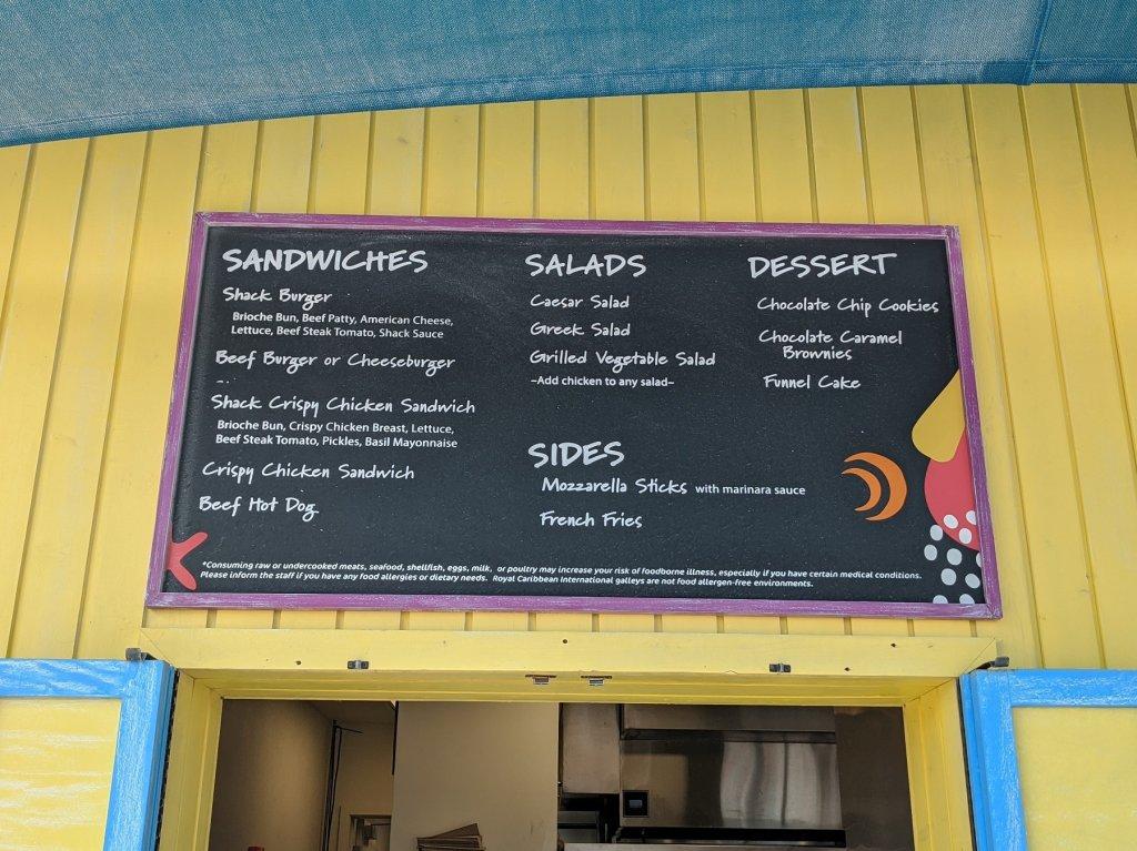 menu on food stand