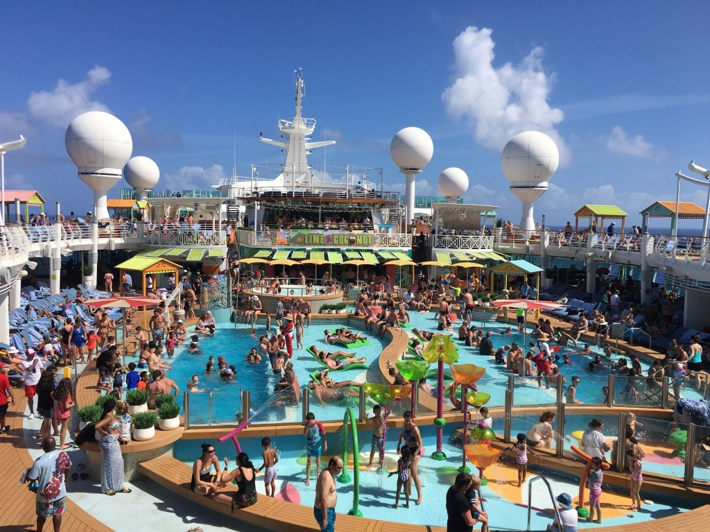 crowded pool area on cruise ship