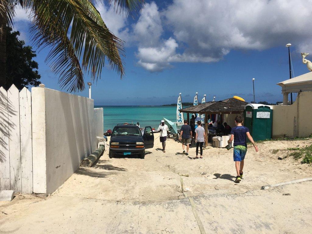 people walking to beach