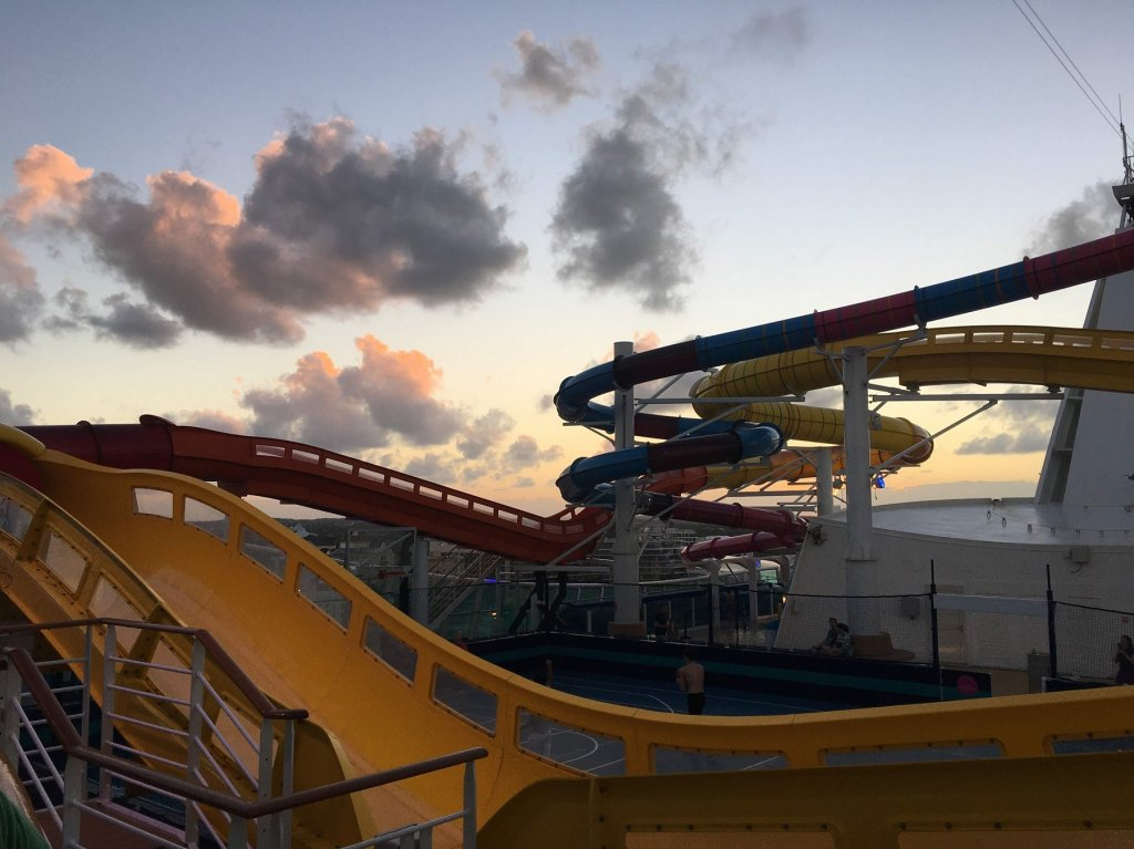 waterslide with sunset in background