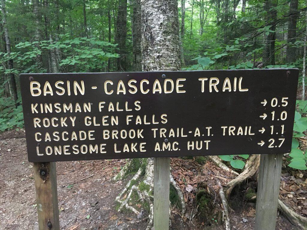 Basin-Cascade Trail sign