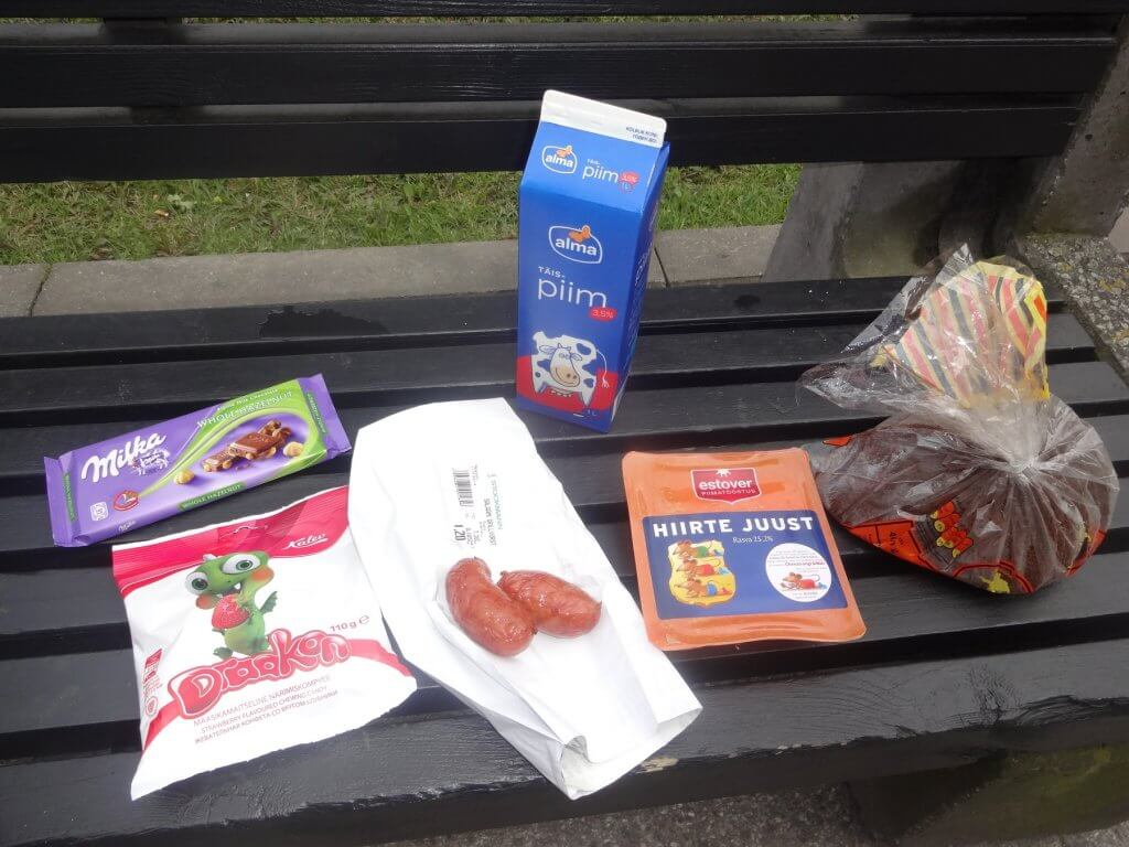food on a park bench