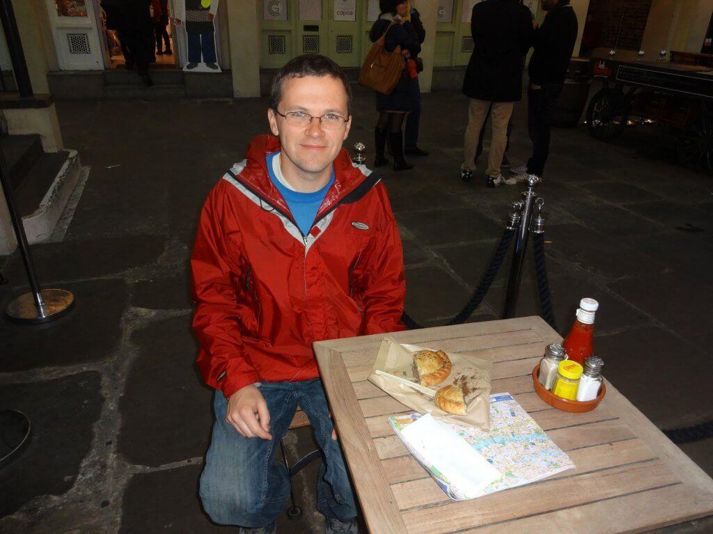 man with cornish pasty