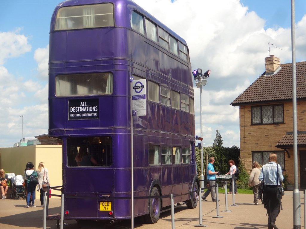tall purple bus