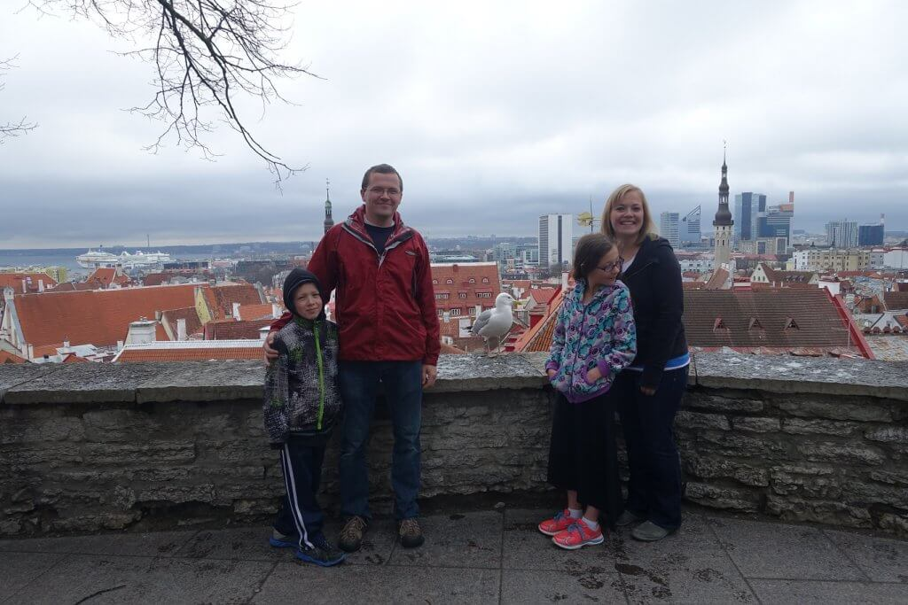 parents and kids standing at lookout over city