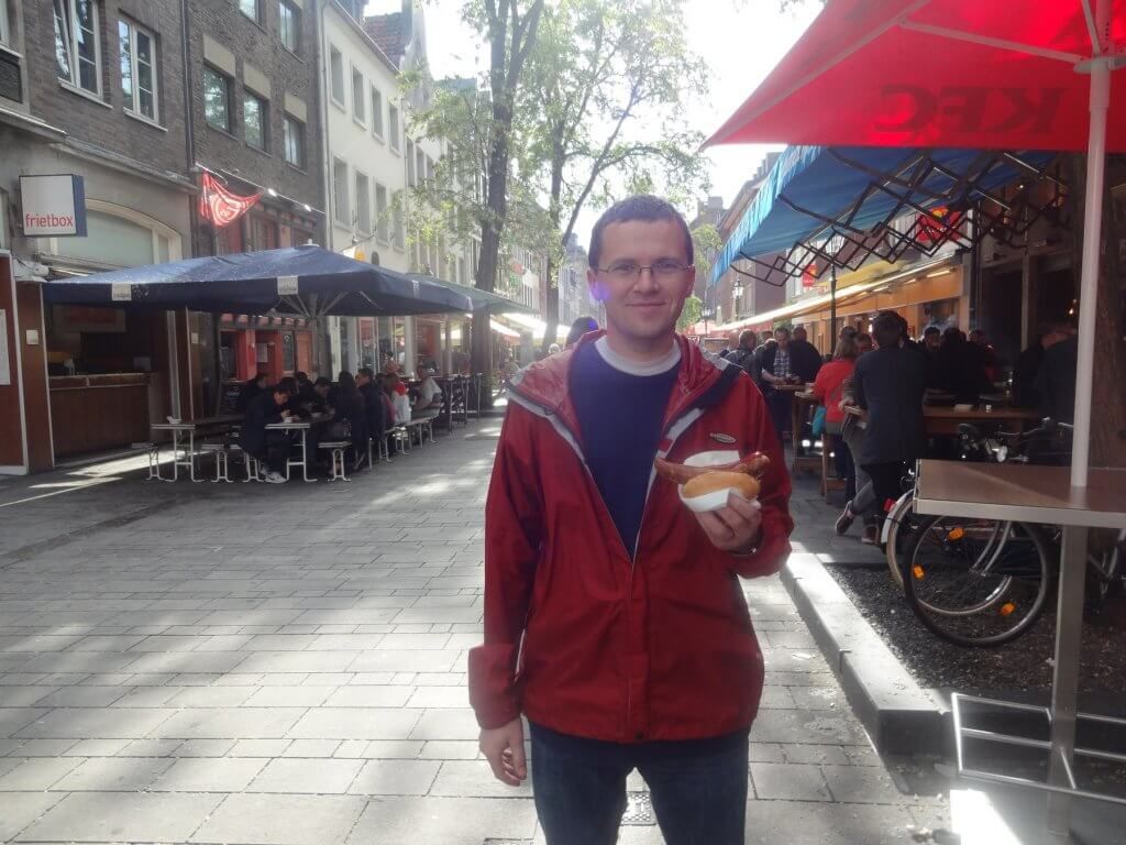 man with bratwurst