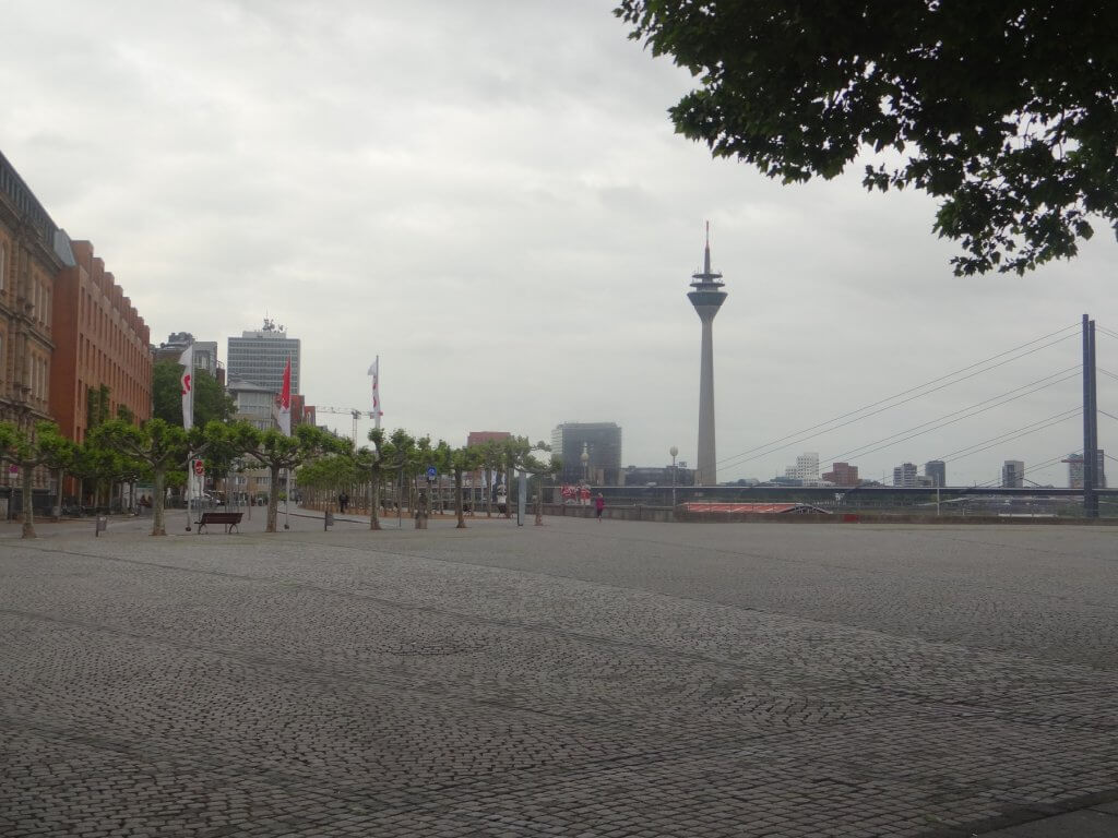 large walkway with tower in background