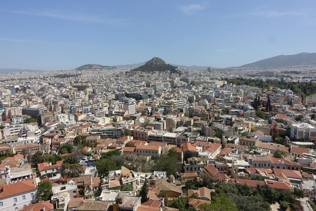 city with hill in the middle