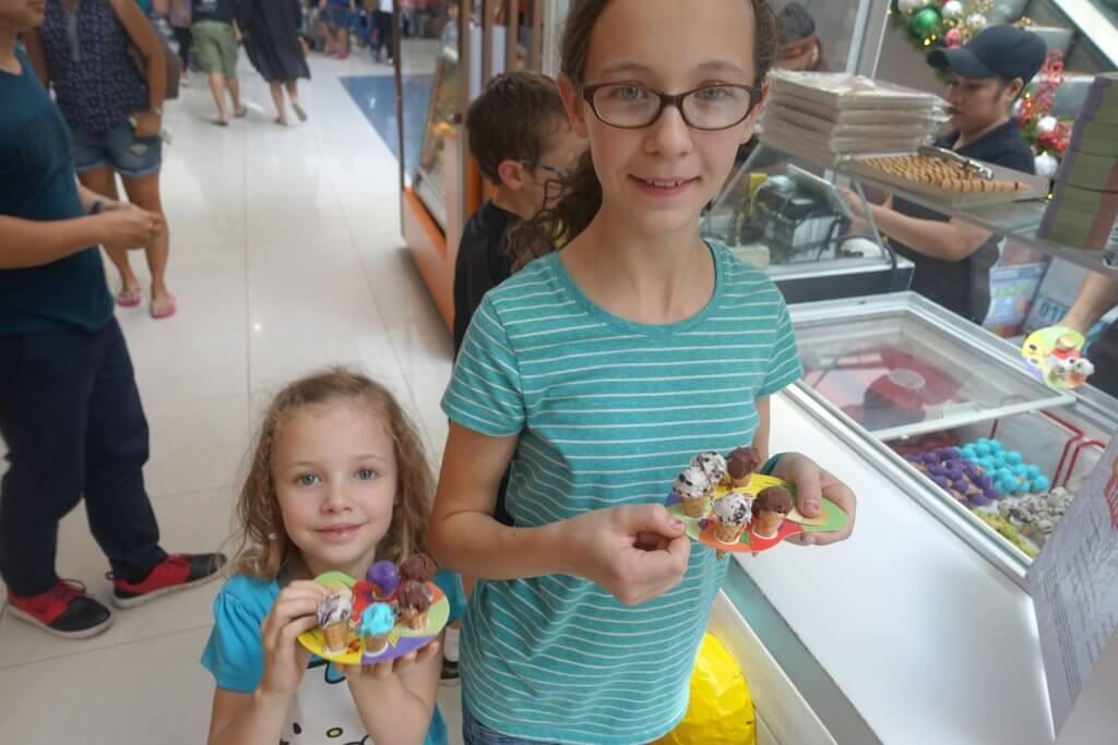 girls with tiny ice cream cones