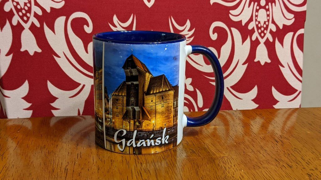 mug with picture of old building