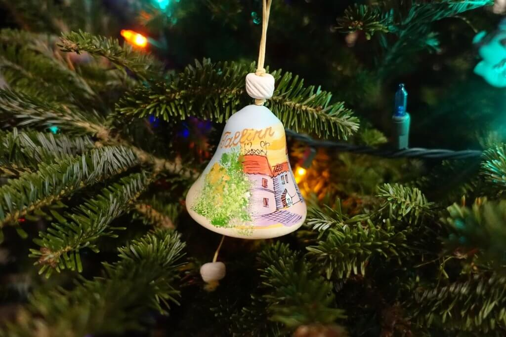 Christmas tree ornament bell with painting