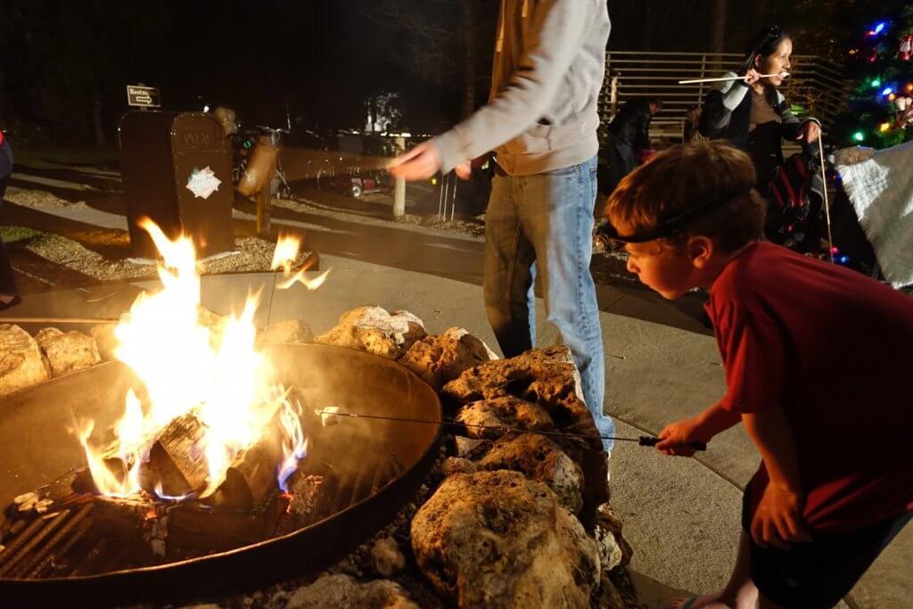 boy roasting a marshmallow at campfire