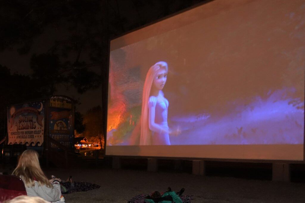 outdoor movie screen at campground