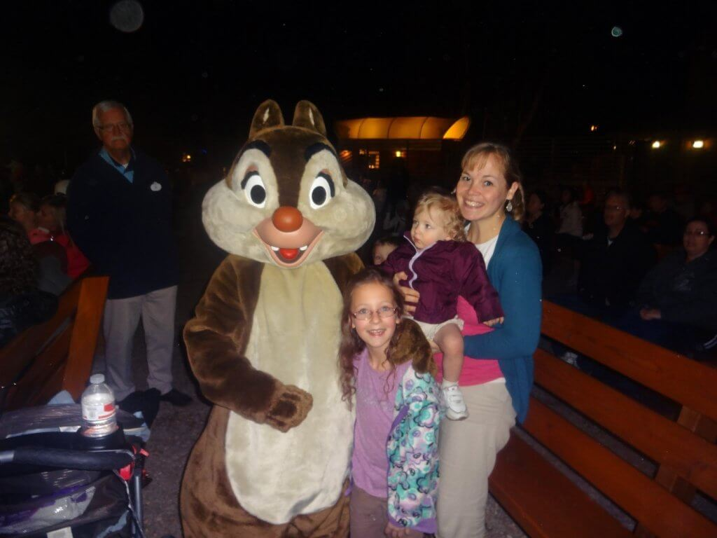 family with dressed up chipmunk