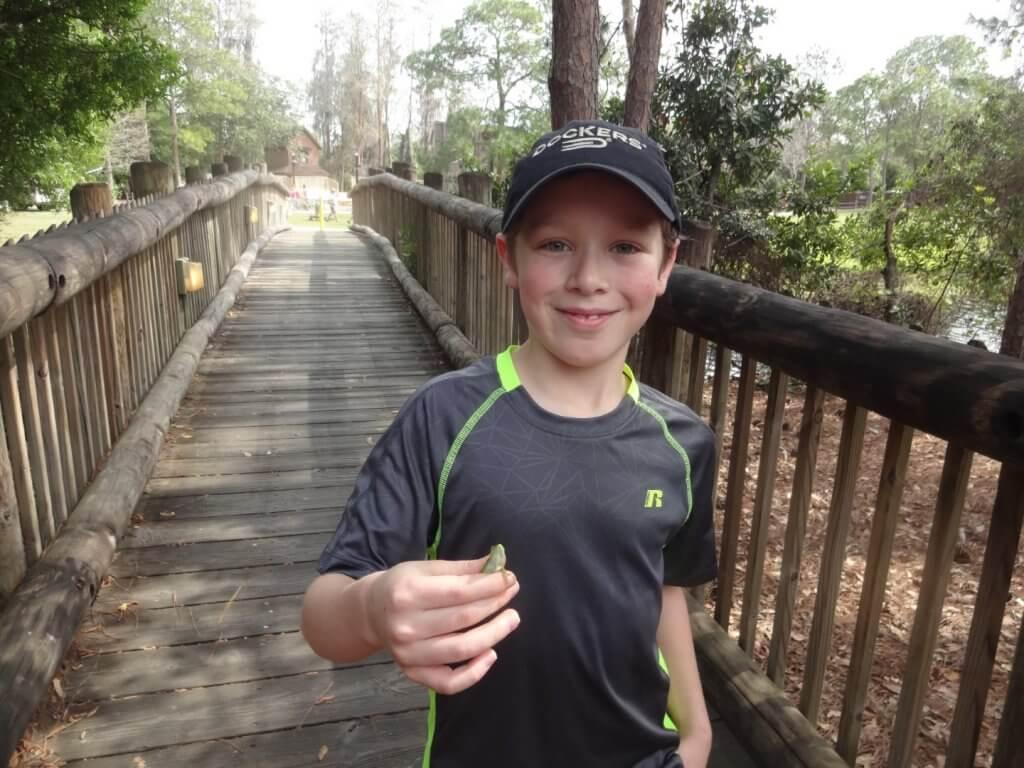 boy on a wooden bridge with a lizard