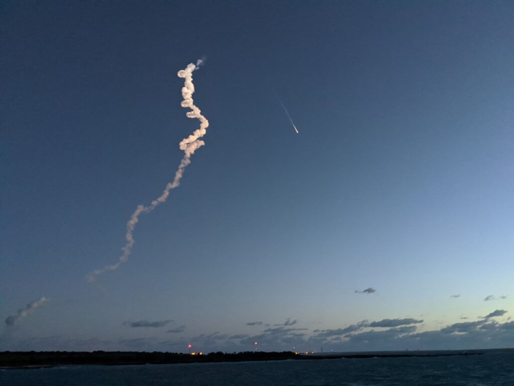 rocket launching into the sky