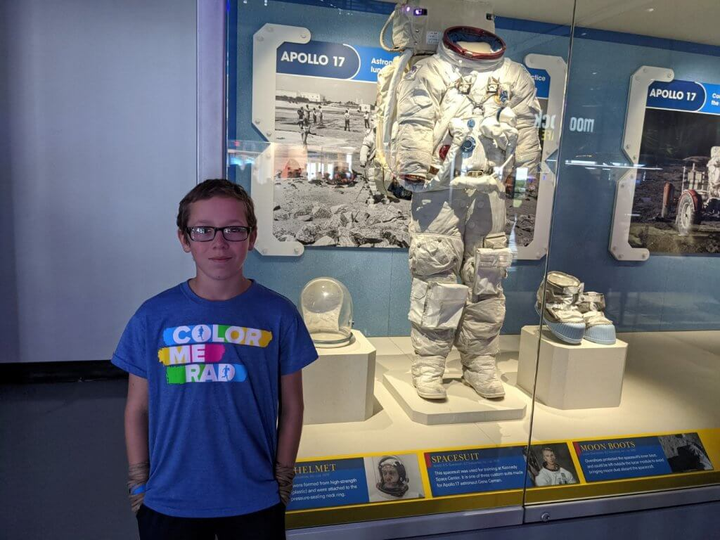 boy and a space suit