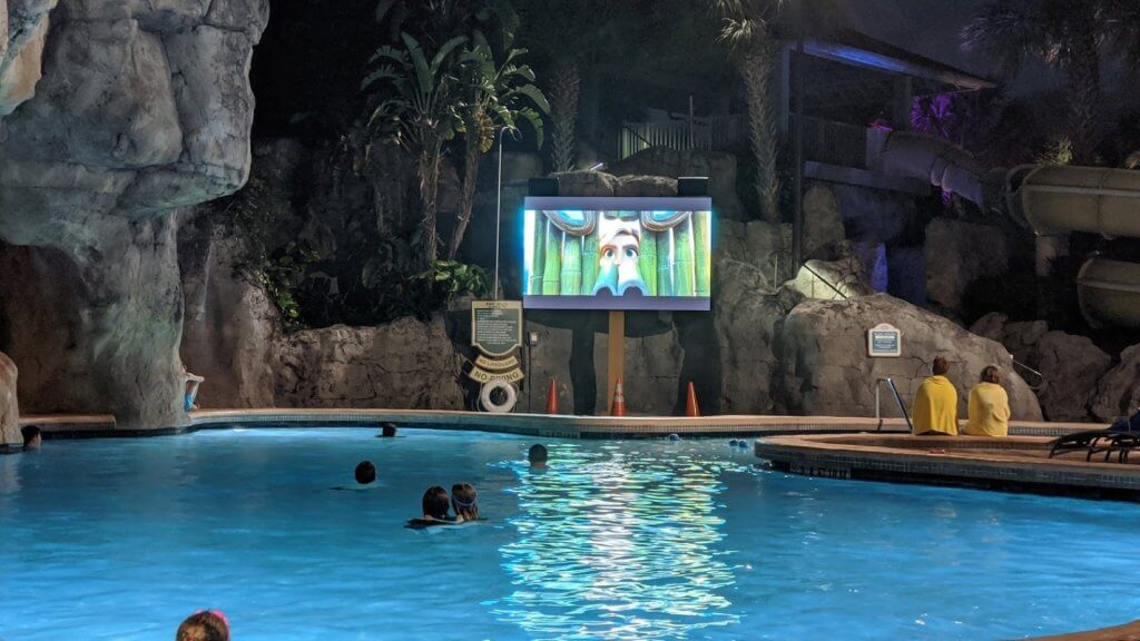movie screen at poolside